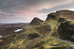 The Quiraing on the Isle of Skye in Scotland. Stock Image