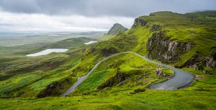 Scenic sight of the Quiraing, Isle of Skye, Scotland. The Quiraing is a landslip on the eastern face of Meall na Suiramach, the northernmost summit of the royalty free stock photos