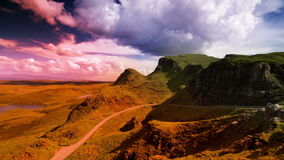 Quiraing range of mountains in isle of skye stock video footage
