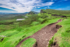 Quiraing to valley in Scotland at summer, UK Royalty Free Stock Image