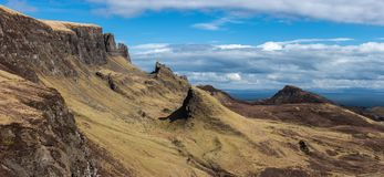 Quiraingen på ön av Skye Scotland Arkivfoto