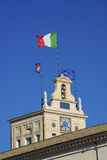 Quirinal Hill clocktower and Italian Flag Stock Photos