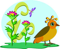 Quirky Bird in a Garden Stock Photos