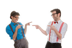 Quirky business men pointing Royalty Free Stock Image