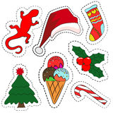 Quirky cartoon patch badges or fashion pin badges. Christmas decoration set:  Royalty Free Stock Photography