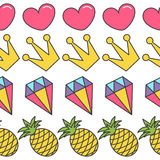 Quirky cartoon Seamless Pattern Pink heart, crown, diamond pineapple White background. Flat design. Royalty Free Stock Photo