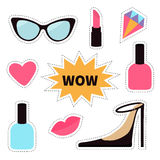 Quirky cartoon sticker patch badge set. Fashion pin. Lipstick, heart, wow text bubble star, diamond, shoes, lips, sunglasses, nail Royalty Free Stock Photo