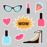 Quirky cartoon sticker patch badge set. Fashion pin. Lipstick, heart, wow text bubble star, diamond, shoes, lips, sunglasses, nail Royalty Free Stock Images