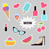 Quirky cartoon sticker patch badge set. Fashion pin. Lipstick, heart, wow text, cupcake, diamond, shoes, ice cream, watermelon, li Stock Images