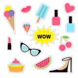Quirky cartoon sticker patch badge set. Fashion pin. Lipstick, heart, wow text, cupcake, diamond, shoes, ice cream, watermelon Stock Photo
