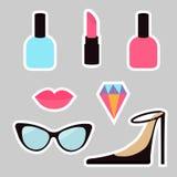Quirky cartoon sticker patch badge set. Woman Fashion pin. Lipstick, diamond gem, shoes, lips, sunglasses, eye glasses, nail polis Royalty Free Stock Photography