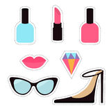 Quirky cartoon sticker patch badge set. Woman Fashion pin. Lipstick, diamond gem, shoes, lips, sunglasses, eye glasses Royalty Free Stock Photo