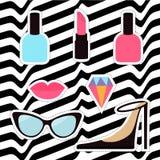 Quirky cartoon sticker patch badge set. Woman Fashion pin. Lipstick, diamond gem, shoes, lips, sunglasses, eye glasses Stock Photos