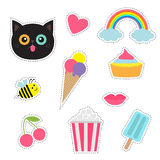 Quirky cartoon sticker patch badges set. Fashion pin collection. Cat, heart, rainbow, cloud, cupcake, bee, ice cream, popcorn Stock Photo