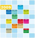 Quirky & colorful calendar 200. Colorful Calendar for 2009. Squares Design Royalty Free Stock Image