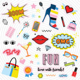 Quirky colorful feminine labels and stickers icons set Stock Image