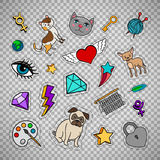 Quirky fashion patches on transparent background. Quirky fashion patches set with animals, diamond, heart and key  on transparent background. Vector illustration Royalty Free Stock Photo