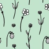 Quirky plant texture. Quirky floral background texture - retro style plant illustration. Flowers and wild strawberries Stock Photos