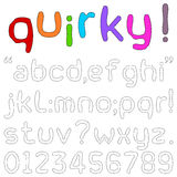 Quirky Font. Lower case alphabets, numerals and punctuation characters in a quirky fun font  on white Royalty Free Stock Photography