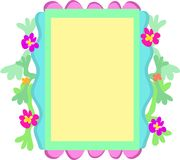 Quirky Frame of Flowers, Shapes, and Colors Stock Image