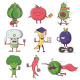 Quirky Fruit and Vegetable Characters Royalty Free Stock Photo