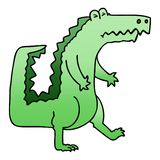 Quirky gradient shaded cartoon crocodile. A creative illustrated quirky gradient shaded cartoon crocodile royalty free illustration