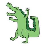 Quirky hand drawn cartoon crocodile. A creative illustrated quirky hand drawn cartoon crocodile vector illustration