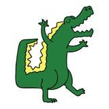 Quirky hand drawn cartoon crocodile. A creative illustrated quirky hand drawn cartoon crocodile stock illustration
