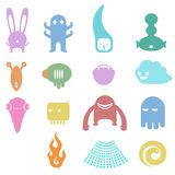 Quirky Monsters. Series of quirky and cute monsters which can be used as icons, editorial and toys Stock Photo
