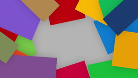 A quirky motion graphics of colorful paper unfold from outer corner and making a frame, alpha channel