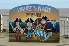 Quirky Pirate Cutouts, Southwold Pier, Suffolk, UK. Quirky Pirate Cutouts at the end of Southwold Pier, Suffolk, England, UK Stock Photos