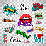 Quirky quotes stickers on transparent background. Quirky quotes stickers set with woman lips and colorful words  on transparent background. Vector badges and Stock Photo