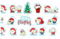 Quirky Santa Claus Funny Christmas characters in flat style. Royalty Free Stock Image