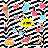 Quirky sticker patch badge set. Fashion pin. Lipstick, heart, wow, cupcake, shoes, ice cream, watermelon, lips, cherry, sunglasses Royalty Free Stock Photos