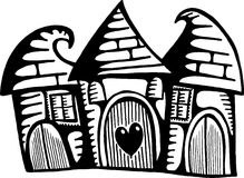 Quirky Village Homes. A whimsical doodle drawing of three quirky houses huddled together in a little village Royalty Free Stock Images