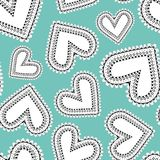 Quirky white and black line art doodle hearts as seamless vector pattern on bright blue background. royalty free illustration