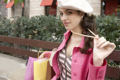 Quirky Woman With Shopping Stock Image