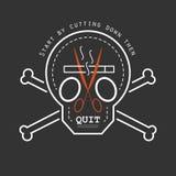 Quit抽烟的战略概念徽章样式 免版税库存照片