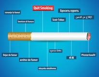 Quit che fuma nelle lingue differenti, nessun manifesto di giorno del tabacco royalty illustrazione gratis