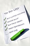 Quit job. To do list with Quit job uncheked Stock Photos