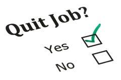 Quit job check mark. On white paper stock photo