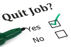 Quit job check mark. On white paper Stock Photo