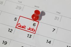Quit job date on calendar royalty free stock images