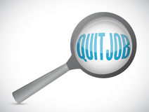 Quit job magnify sign concept Stock Photos
