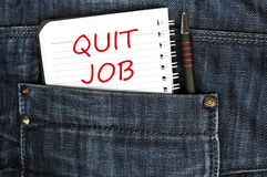 Quit job message. On notepad stock image