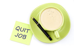 Quit job note and coffee. Quit job on note and coffee royalty free stock image