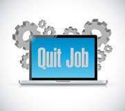 Quit job tech computer sign concept Stock Photos