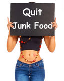 Quit Junk Food Sign Shows Eating Well For Health Royalty Free Stock Photo