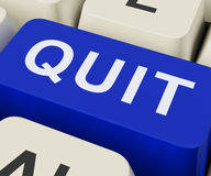Quit Key Shows Exit Resign Or Give Up Royalty Free Stock Images