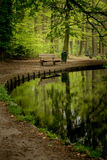 A quit pond with a resting bench. This bench was found in one of the most popular parks in Arnhem Netherlands. It sits next to a silend but beautifull pond Royalty Free Stock Image